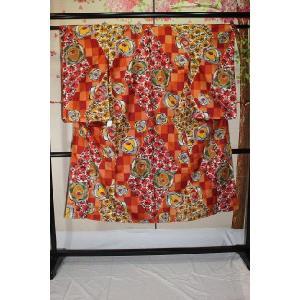 アンティーク/ アールデコ薔薇にチェックの銘仙 |kimono-himesakura