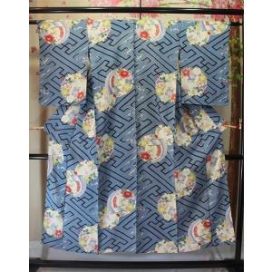 アンティーク/ 撫子友禅の絽の着物(寸法大)|kimono-himesakura