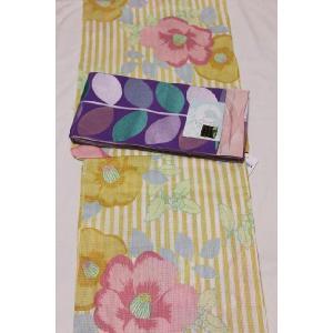 新品/ パステルカラー縦縞に椿の浴衣|kimono-himesakura