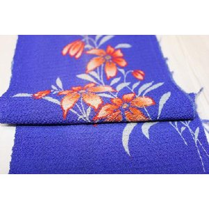 アンティーク/ 百合花友禅の一部刺繍の半衿|kimono-himesakura