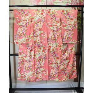 アンティーク/ 花柄の綸子着物|kimono-himesakura