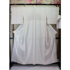 新品/ チェックの絽の着物(ピンクベージュ)|kimono-himesakura