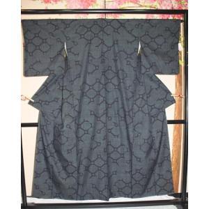 未使用/ 本場結城紬100亀甲|kimono-himesakura