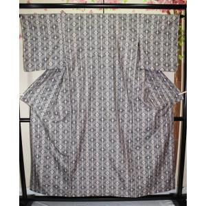 リサイクル/ 縞菱模様の信州紬|kimono-himesakura