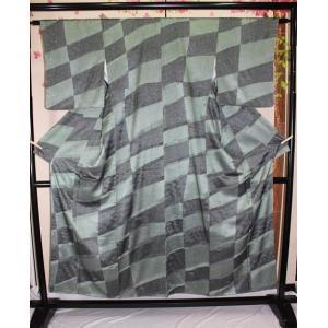 未使用 / 叩き染め・崩れ市松模様の小紋|kimono-himesakura