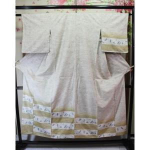 リサイクル/ 野蚕布・うさぎ柄の紬の付下げ|kimono-himesakura