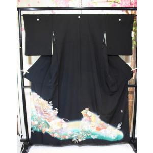 リサイクル/ 作家もの・御所車の友禅の黒留袖(大寸)|kimono-himesakura