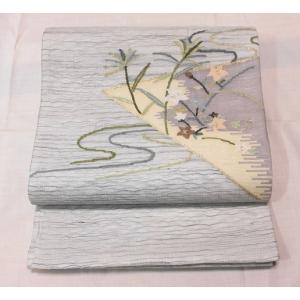 リサイクル/ すくい織の花流水柄の夏袋帯 kimono-himesakura