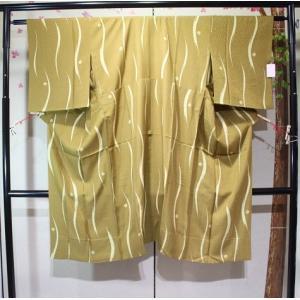 リサイクル/ 縞柄のからし色の長じゅばん・単衣|kimono-himesakura