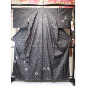 未使用/ 本場大島紬 雪柄の刺繍のつけ下げ(証紙付き)|kimono-himesakura