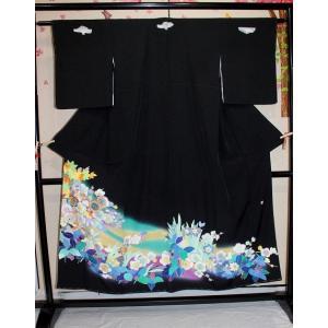 未使用 /作家物の友禅と刺繍の黒留袖|kimono-himesakura