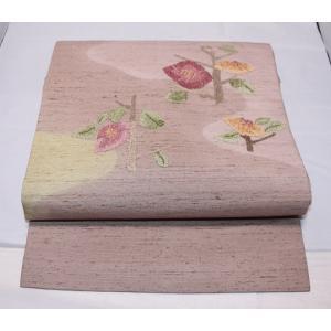 リサイクル/ 白山紬に花相良刺繍の名古屋帯|kimono-himesakura