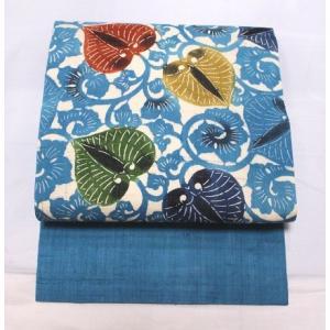 リサイクル/ 藍の全通・紅型の生紬の名古屋帯|kimono-himesakura