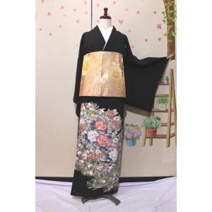 未使用/ 作家物・友禅の黒留袖 五三の桐紋|kimono-himesakura
