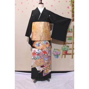 未使用 / 京友禅の黒留袖 丸に剣片喰の紋|kimono-himesakura