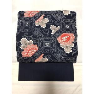 未使用/ 木綿の藍染めのお洒落名古屋帯|kimono-himesakura