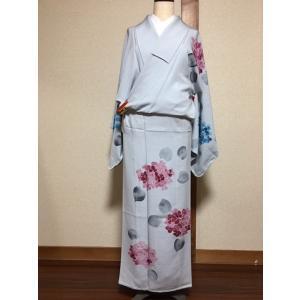 未使用/ アジサイ柄の付下げ(単)|kimono-himesakura