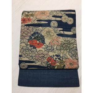 未使用/ 全通の紅型柄の生紬の名古屋帯|kimono-himesakura