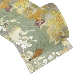 袋帯 中古 女性 純金箔 蔦葉と野の草花 金糸耀く優雅な一条 A304-8 【中古】