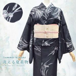 夏着物 絽 【黒 菖蒲 14472】 夏きもの 洗える ポリエステル 小紋|kimono-japan