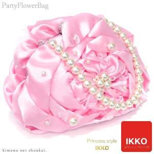 【激安セール商品】ブランド がま口 バッグ【IKKO/パール花バッグ 大きな花/ライトピンク 15393】和洋兼用 成人式 卒業式 パーティー|kimono-japan