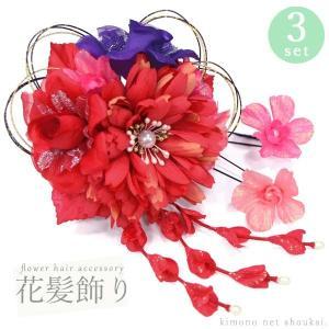 髪飾り【3点セット カレンデュラローズ(黒金水引)レッド 赤 14835】成人式 結婚式 卒業式 七五三 ドレス 浴衣 和モダン ヘアアクセサリー|kimono-japan