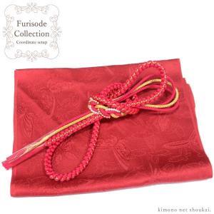 振袖用 正絹 帯揚げ 帯締め 2点セット(34/赤 レッド 胡蝶 パール飾り紐 RAJA 15452-15617)振袖 成人式 コーディネートセット|kimono-japan