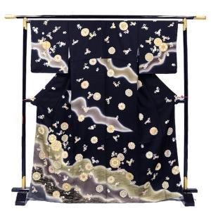 正絹 お仕立て上がり 訪問着単品【黒地に茶ぼかし/唐華ちらし】結婚式 入学式 卒業式|kimono-japan