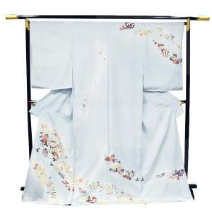 訪問着 正絹 未仕立て訪問着 【水色地にグレーぼかし/扇面菊・四季花々】フルオーダーお仕立・八掛・湯通し・胴裏代込 礼装 フォーマル|kimono-japan