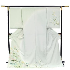 訪問着 正絹 未仕立て訪問着 【淡い黄緑ぼかし地/ヒナゲシ花々】フルオーダーお仕立・八掛・湯通し・胴裏代込 礼装 フォーマル|kimono-japan