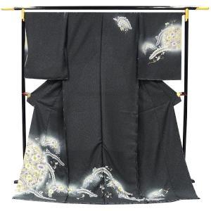 訪問着 正絹 未仕立て訪問着 【墨黒色地/辻が花】フルオーダーお仕立・八掛・湯通し・胴裏代込|kimono-japan