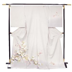 訪問着 正絹 未仕立て訪問着 【ブラウンベージュ地/四季花々】フルオーダーお仕立・八掛・湯通し・胴裏代込 礼装 フォーマル|kimono-japan