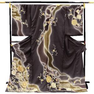 正絹 未仕立て訪問着 【墨茶地に金襴唐華】お仕立・八掛・湯通し・胴裏代込|kimono-japan