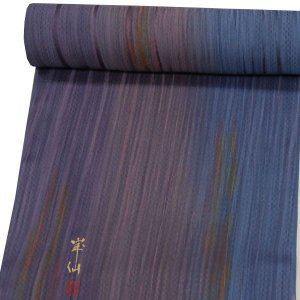 コート/羽織地 反物  【紫から青へのボカシに黄・赤の色】|kimono-japan
