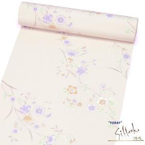 (小紋反物/着尺 東レシルック)淡いベージュ 撫子花々 15426 仕立代込み 小紋着尺|kimono-japan