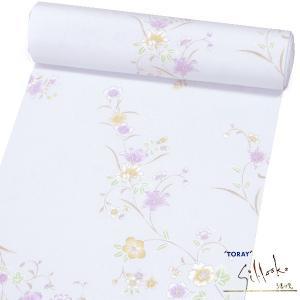 (小紋反物/着尺 東レシルック)ライトブルーグレー 撫子花々 15426 仕立代込み 小紋着尺|kimono-japan