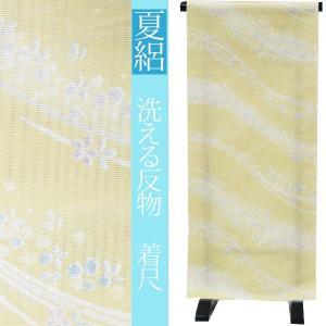 夏絽 反物 仕立て付き 【薄芥子茶色地に花流し】洗える 小紋 着尺 きもの 着尺 夏着物|kimono-japan