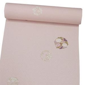 正絹小紋 【シェルピンク地に花輪】 お仕立て付|kimono-japan