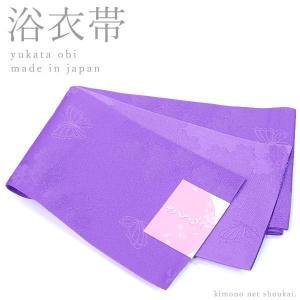 (浴衣帯 半幅帯)紫 パープル / 桜と蝶 15572 日本製 細帯 袴 ゆかた 半巾帯 単衣|kimono-japan
