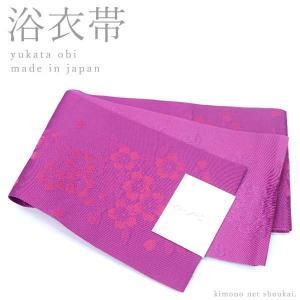 (浴衣帯 半幅帯)赤紫 / 枝桜 15572 日本製 細帯 袴 ゆかた 半巾帯 単衣|kimono-japan