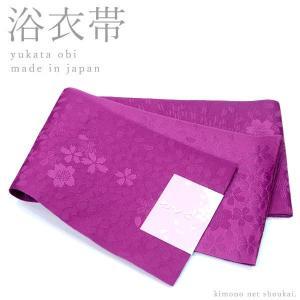 (浴衣帯 半幅帯)赤紫 / 桜尽くし 15572 日本製 細帯 袴 ゆかた 半巾帯 単衣|kimono-japan