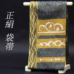 袋帯 お太鼓柄 正絹 【金 青緑 幾何学模様】お仕立代込|kimono-japan