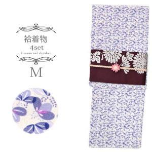 (袷着物セット)洗える 袷着物 4点セット Mサイズ/オフホワイト 紺紫桐づくし /黄土色 半幅帯/三分紐/帯留め コーディネートセット|kimono-japan