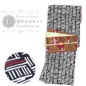 (袷着物セット)洗える  4点セット 袷着物 Lサイズ/黒 縦横シマ重ね/えんじ半幅帯/三分紐/帯留め|kimono-japan