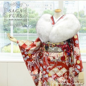 ファー ショール 日本製【SAGA FURS FOX ブルーフォックス 14603】北欧 白 グレー シルバー 毛皮 成人式 振袖 着物 和装 送料無料|kimono-japan