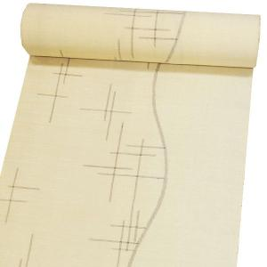 正絹 夏紗着物 特選 結城ちぢみ 反物/手織結城紬着尺 〔薄香色地 絣〕 13977|kimono-japan