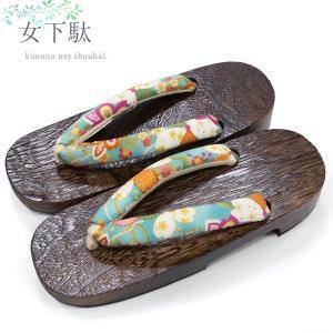 浴衣 下駄 女性用(白×ピンク 枝垂れ桜/黒台 13381)フリーサイズ げた レディース|kimono-japan