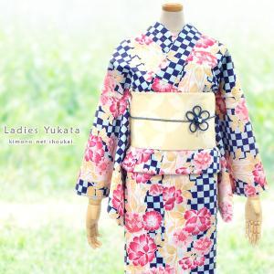 女性浴衣 変わり織ラメ入り【紺×水色市松地に赤・ピンク色の桜・牡丹 15162】単品 ゆかた レディース お仕立上がり|kimono-japan