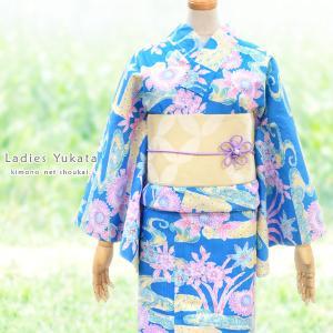 女性浴衣 変わり織ラメ入り【ブルー地に紅型調花々 15162】単品 ゆかた レディース お仕立上がり|kimono-japan