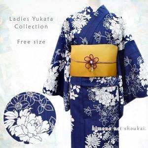 女性 浴衣 フリーサイズ【生成り×黒赤 縞に朝顔 アサガオ 15059】 古典柄 レトロ モダン 単品 ゆかた レディース お仕立上がり kimono-japan
